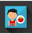 cartoon boy athlete with tomato vector image