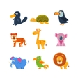 Exotic Toy Fauna Set vector image