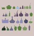 set of glass vases and bottles of different shapes vector image