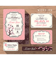 Vintage floral wedding invitation set Template vector image