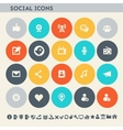 Social icon set Multicolored square flat buttons vector image
