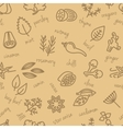 spice seamless pattern in beige colour vector image