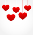 red hanging hearts for Valentines Day with copy vector image vector image