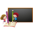 board template with girl and boy writing on paper vector image
