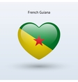 Love French Guiana symbol Heart flag icon vector image