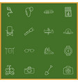 Set of 16 editable camping doodles includes vector image