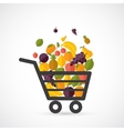 Shopping cart with fruits vector image