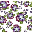 pattern with blue flowers berries and leaves on vector image