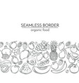 seamless borders with hand drawn fruits vector image