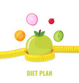 apple with measuring tape and vegetables vector image