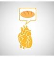 food healthy heart bread concept design icon vector image