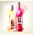 Red and white wine in bottles Watercolor splashes vector image