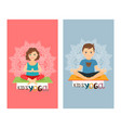 yoga kids vertical flyers set vector image