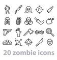twenty zombie icons collection vector image
