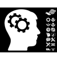 Intellect Gears Icon with Tools Bonus vector image