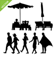 Beach umbrella and deck ans peoples silhouette vector image vector image
