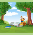 cute god with books vector image
