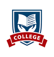 logo shield and book for college vector image