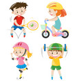 boys and girls doing different exercise vector image