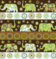 Ethnic background with floral patterned elephants vector image