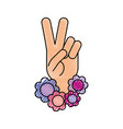 hand making peace and love with flowers vector image