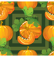 seamless pattern of ripe pumpkins with leaves vector image