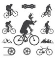 set of cycling mountain bike icons vector image