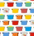 Colored pans Seamless pattern for kitchen Kitchen vector image