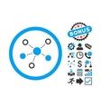Virtual Links Flat Icon with Bonus vector image