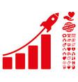 startup rocket bar chart icon with love bonus vector image
