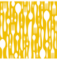 Cutlery pattern on yellow background vector image vector image