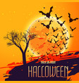 halloween celebration background with flying bats vector image