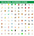 100 global warming icons set cartoon style vector image vector image