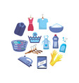 set laundry equipment to washing the clothes vector image