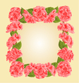 Frame with pink hibiscus greeting card vector image