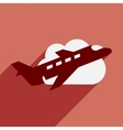 Flat with shadow icon and mobile application plane vector image