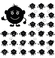 Smilies round set black vector image vector image