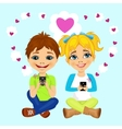 young happy teenagers sending love messages vector image