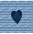 Blue heart on striped pattern vector image