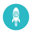 Circle light blue with space rocket vector image