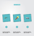 flat icons caravan lighter weapon and other vector image