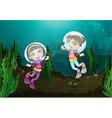 Happy girls diving underwater vector image
