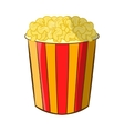 Popcorn in striped bucket icon cartoon style vector image