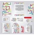 Stationery template design with color square vector image
