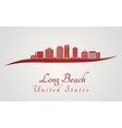 Long Beach V2 skyline in red vector image