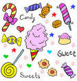 doodle of many candy various vector image