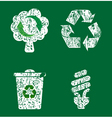 grunge recycle icons vector image vector image