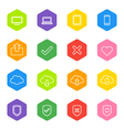 white line web icon set on colorful hexagon vector image