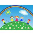 children in the meadow vector image