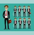 man in a business style set of poses and emotions vector image